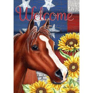 Garden Flag- New- Country Bay Horse Welcome Flower